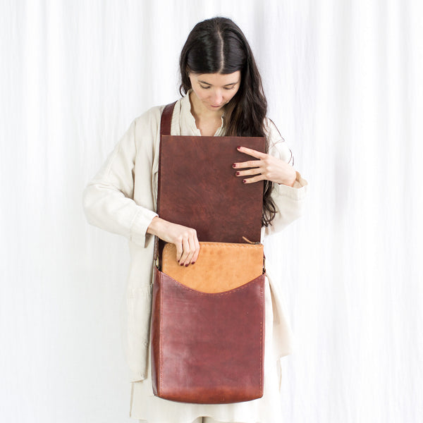 Leather Workday Bag Tall - Red