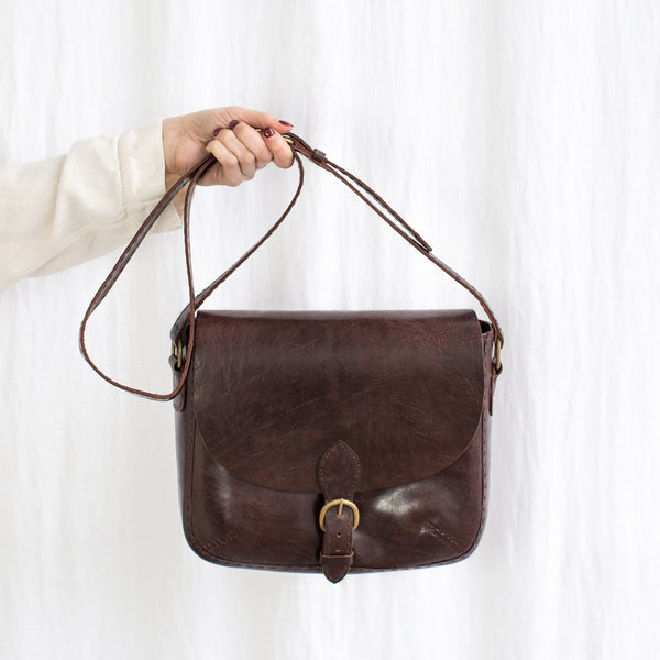 Leather Traveller Shoulder Bag - Brown
