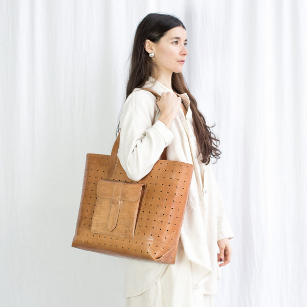 Leather Luminous Bag - Tan