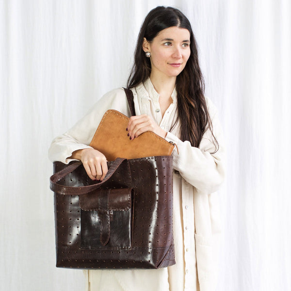 Leather Luminous Bag - Brown