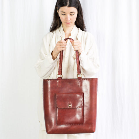 Leather Weekend Bag - Red