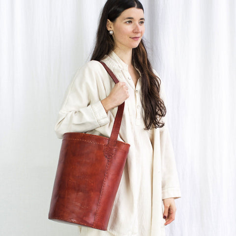 Leather Bucket Bag - Red