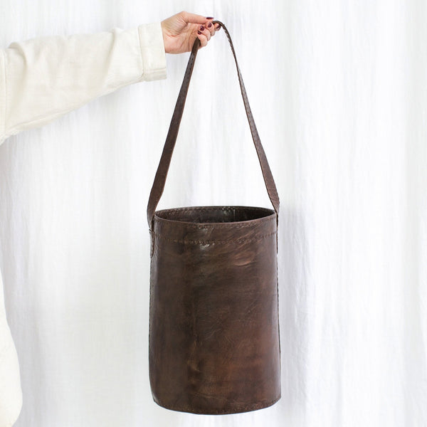 Leather Bucket Bag - Brown