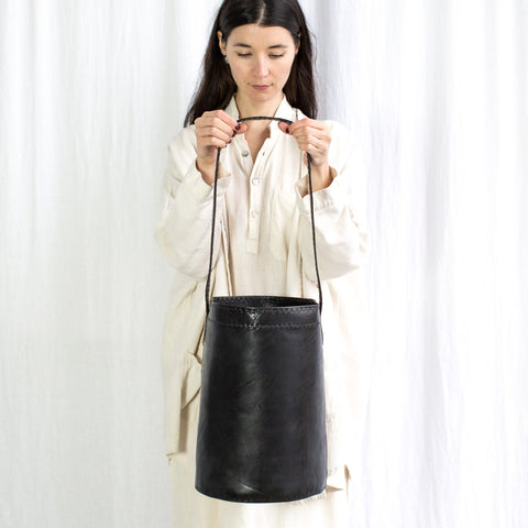 Leather Bucket Bag - Black