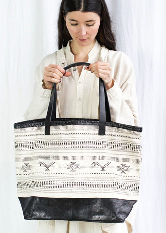 Leather Caravan Bag - Handwoven Cloth White with Leather Bottom