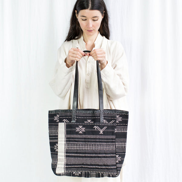 Leather Caravan Bag - Handwoven Cloth Black