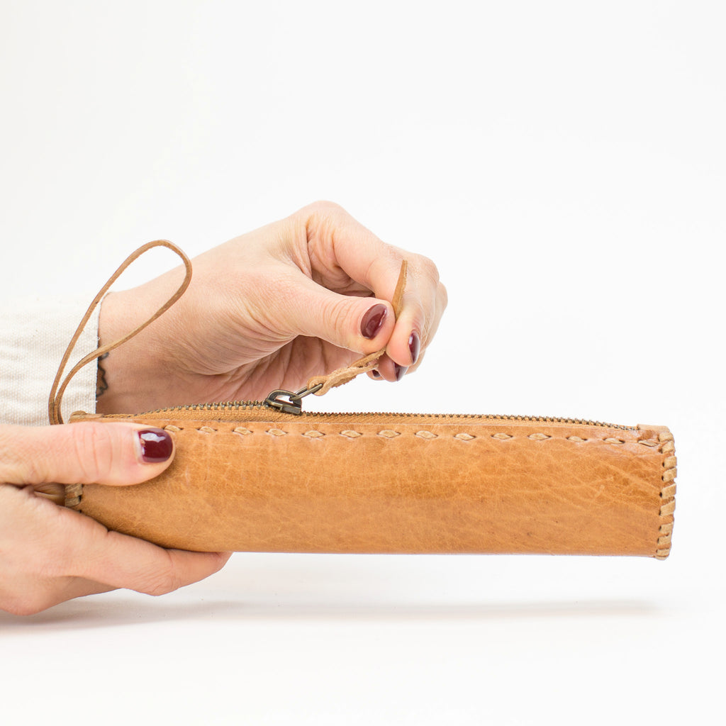 Leather Pencil Case - Tan