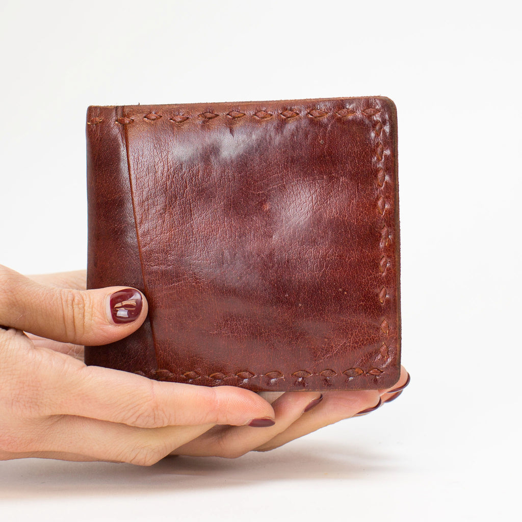 Leather Wallet Folded - Red
