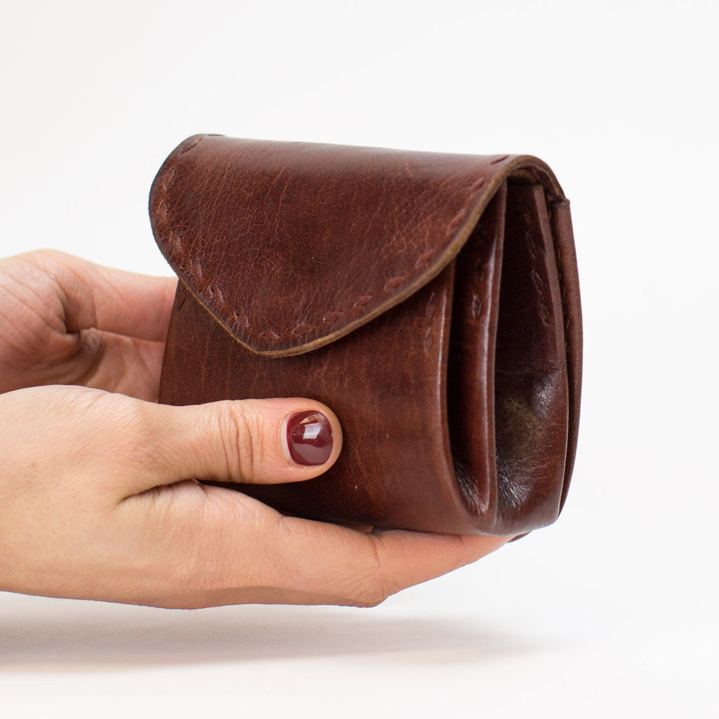 Leather Double Pocket Pouch - Brown