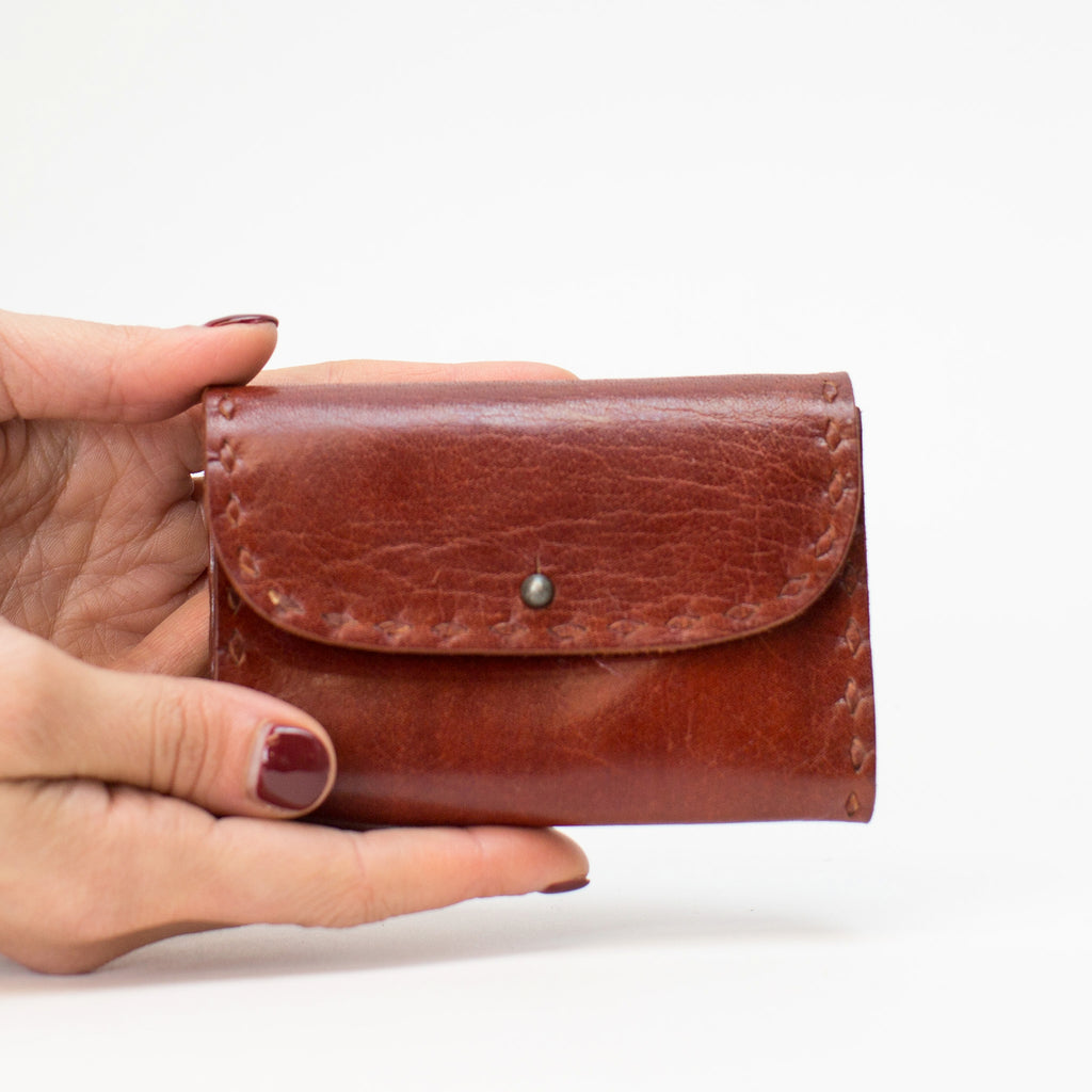 Leather Coin Pouch - Red