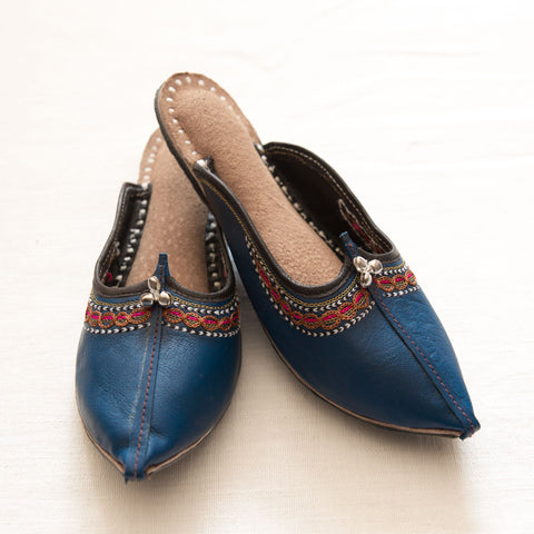 Handmade Leather Juti - Cobalt