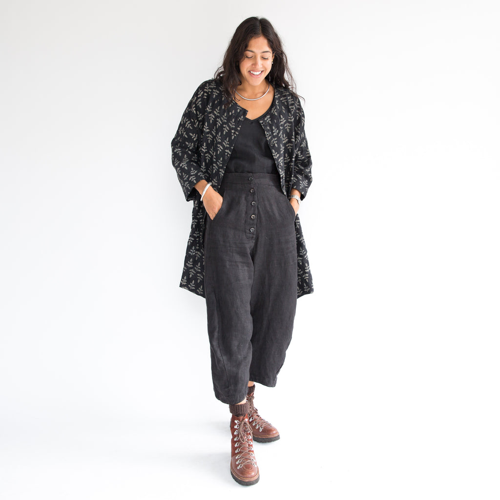 Gaadi Coat - Blockprint Leaf - Black Linen