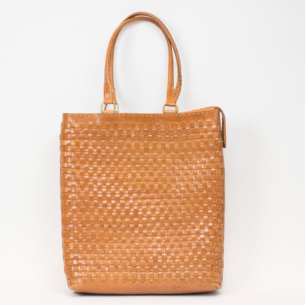 Leather Woven Long Carry Bag - Tan