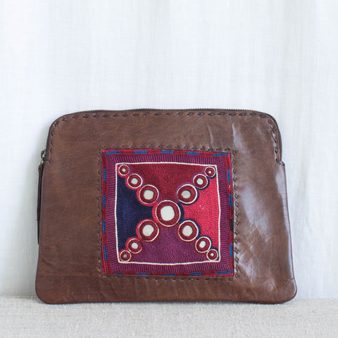 Banjara Embroidery - Brown Leather Clutch - Pattern 1
