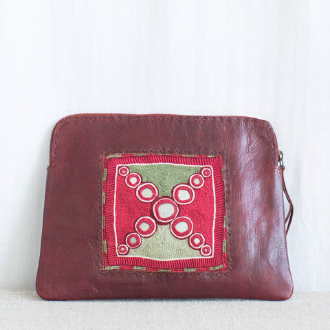 Banjara Embroidery - Red Leather Clutch - Pattern 2