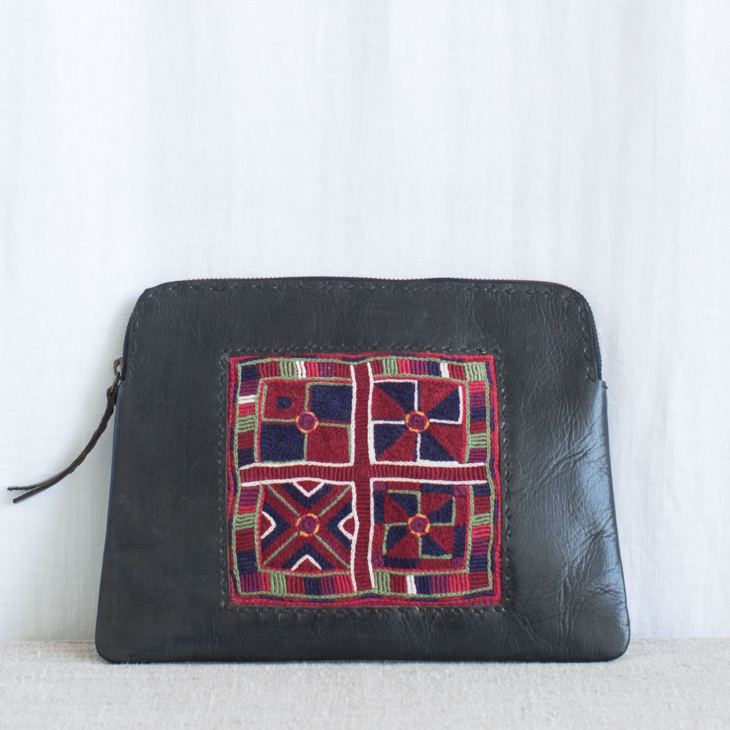 Banjara Embroidery - Black Leather Clutch - Pattern 1