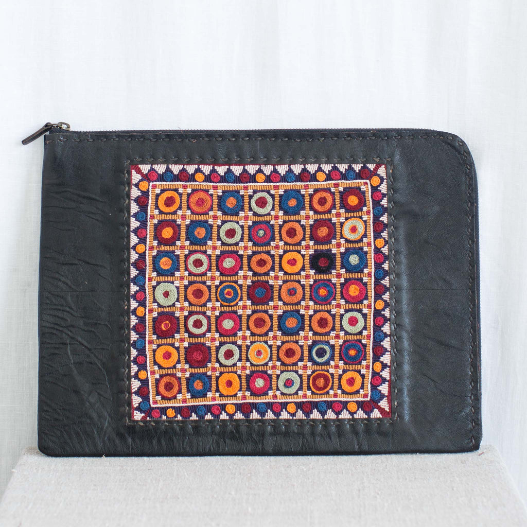 Banjara Embroidery - Black Leather Computer Case - Pattern 2
