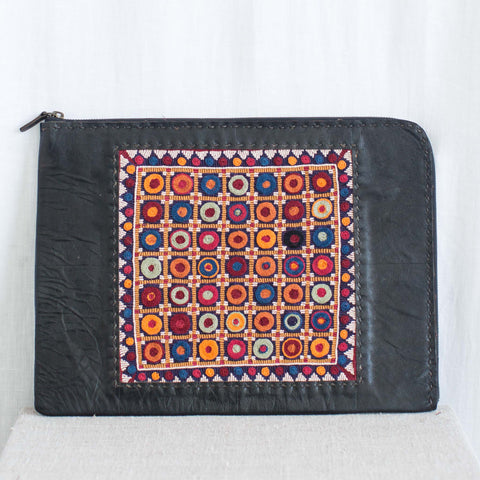 Banjara Embroidery - Black Leather Laptop Case - Pattern 2