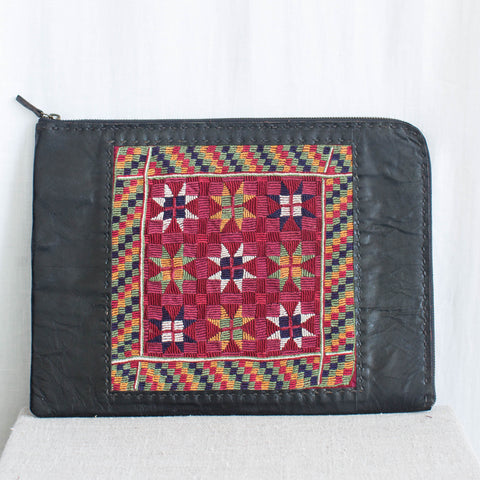 Banjara Embroidery - Black Leather Laptop Case - Pattern 1