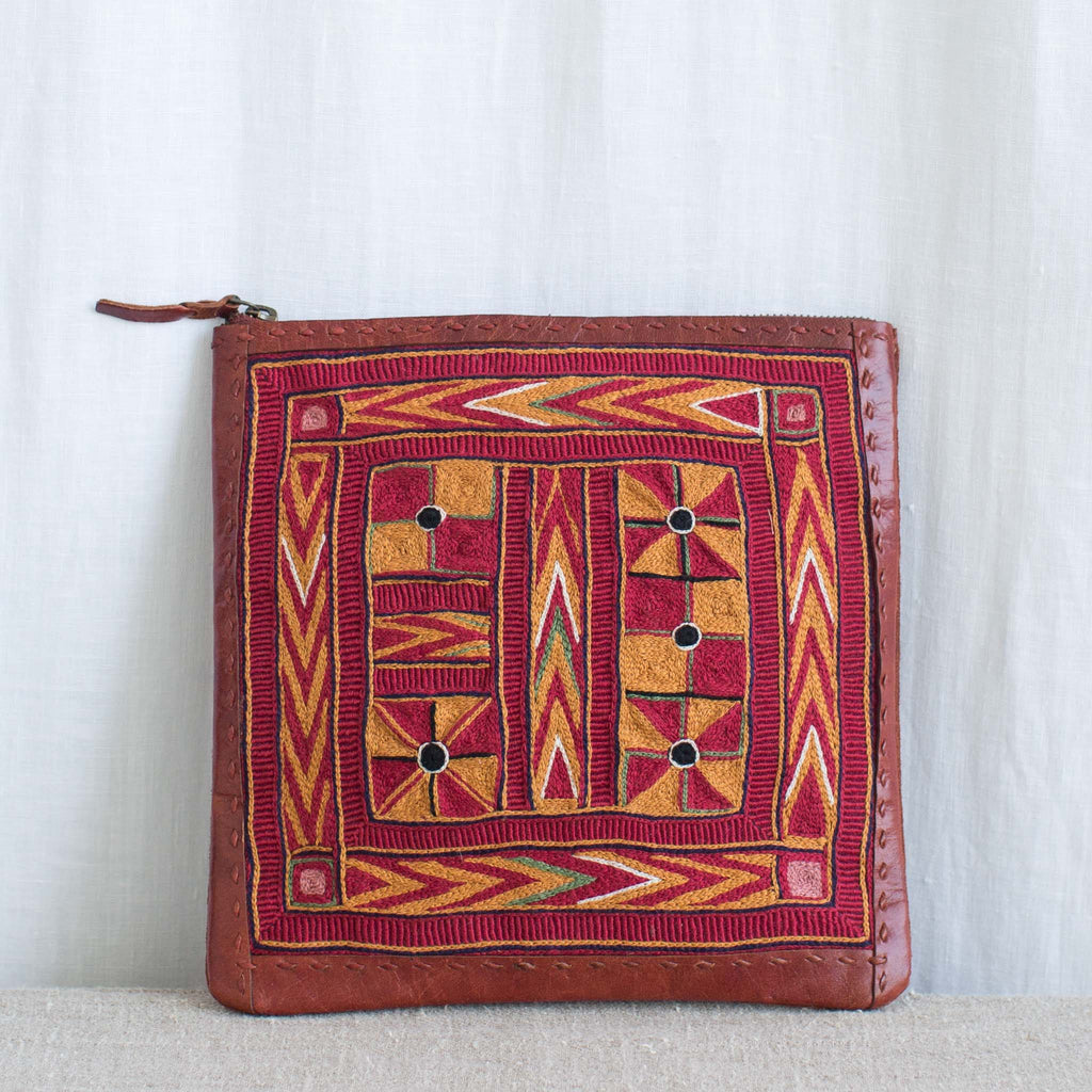 Banjara Embroidery - Small Red Leather Flat Pouch - Pattern 4