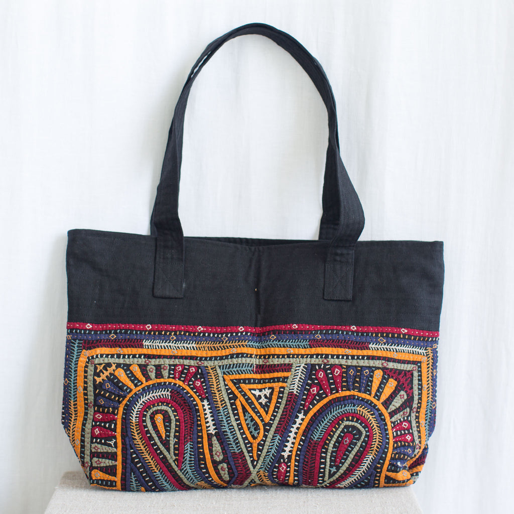 Kachchh Embroidery Linen Bag - Dhebaria Pattern 3