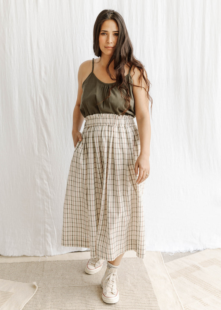 natural organic cotton naturally dyed handwoven skirt slowclothes Sustainable fashion sewn and designed by Maiwa Handprints