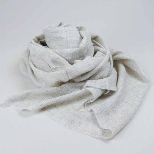 Scarf - Wool Pashmina & Merino Handwoven - Heather Grey
