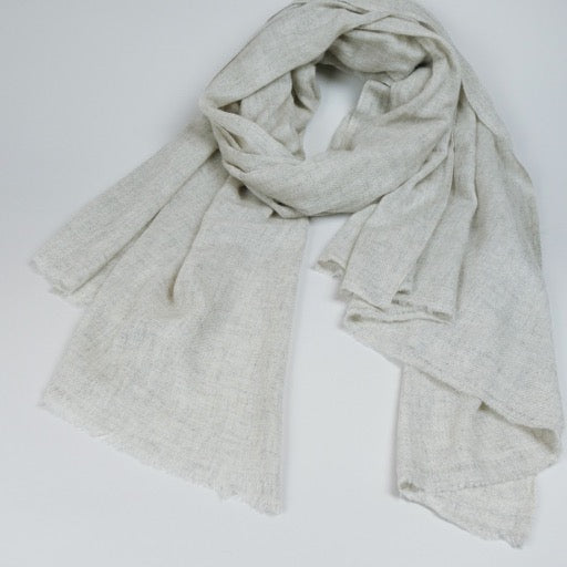 Shawl - Wool Pashmina & Merino Handwoven - Heather Grey