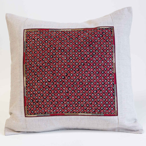 Mutwa mirror embroidered cushion cover red, gold and grey on natural linen from the Kachchh desert by Maiwa