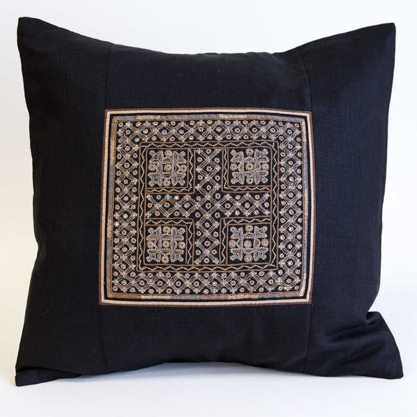 Mutwa mirror embroidered cushion cover brown, tan and grey on black linen from the Kachchh desert by Maiwa