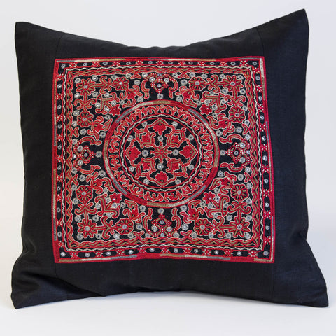 Mutwa mirror embroidered cushion cover red, gold and grey on black linen from the Kachchh desert by Maiwa