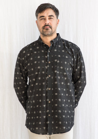 Men's Deccan Shirt - Ikat - Black Serrated Grid