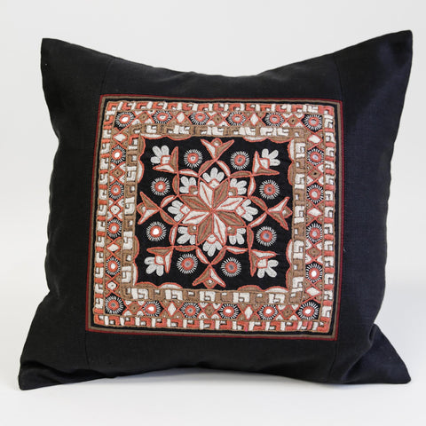 Nodetadi Kachchh embroidery cushion cover peach and tan on black linen by maiwa