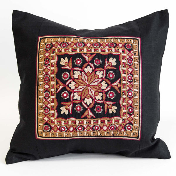 Nodetadi Kachchh embroidery cushion cover red, camel and tan on black linen by maiwa