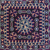 Nodetadi Kachchh embroidery cushion cover plum, navy and tan on black linen by maiwa