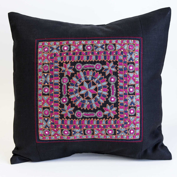 Nodetadi Kachchh embroidery cushion cover pink, blue and navy on black linen by maiwa