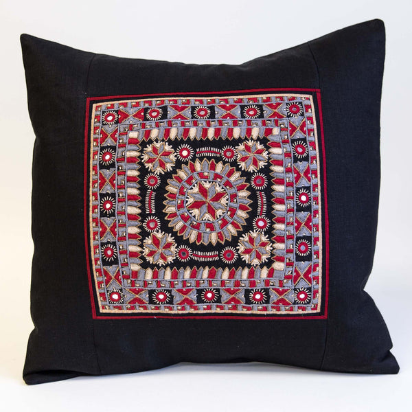 Nodetadi Kachchh embroidery cushion cover red, grey and tan on black linen by maiwa