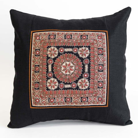 Nodetadi Kachchh embroidery cushion cover peach, camel and tan on black linen by maiwa