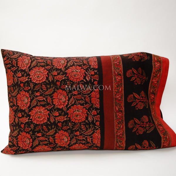 Pillow Case Dabu Print Deep Rose
