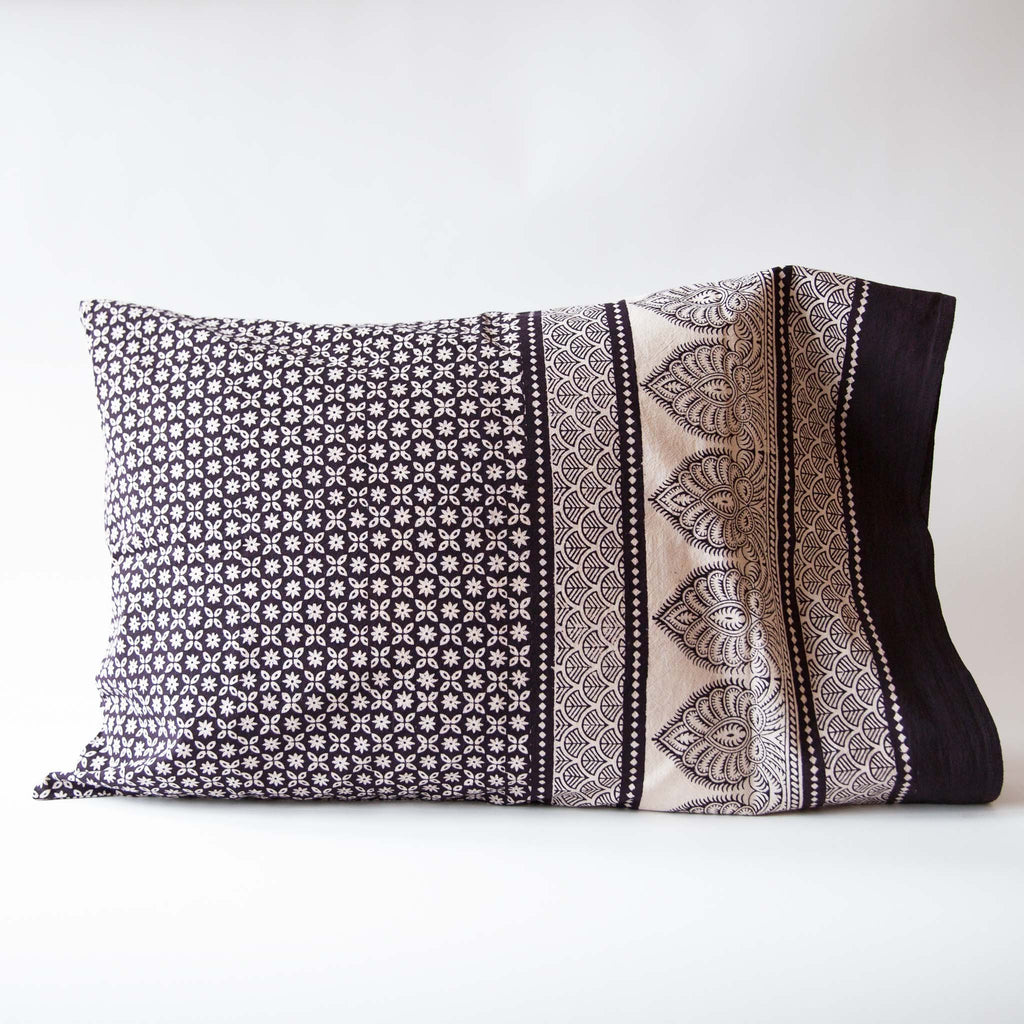 Organic Cotton Pillow Case - Bagh Print - Star Anise