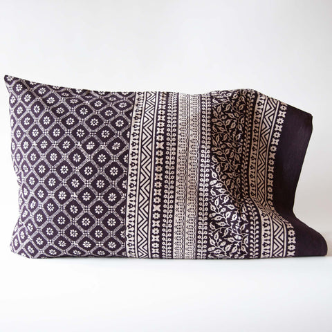 Organic Cotton Pillow Case - Bagh Print - Diamond Daisy