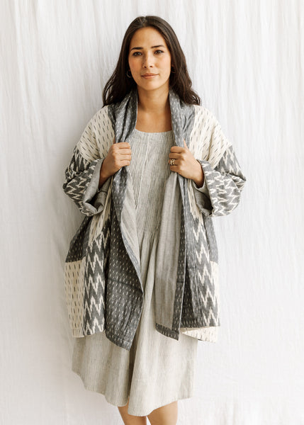 Ikat Quilted Coat - Heather Grey - Cotton