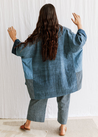 Handwoven Quilted Coat - Indigo Blue - Cotton