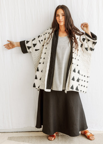 Ikat Quilted Coat - Triangles - Cotton