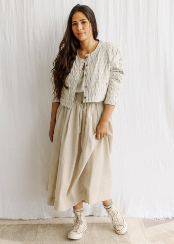 Mala Skirt - Handwoven Cotton - Soft Stripe