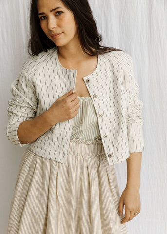 Quilted Crop Jacket - Handwoven Cotton - Natural