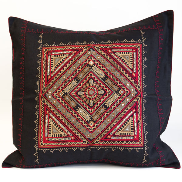 "Rabari 24"" gold and brown Embroidered motif on black linen cushion cover from kachchh with Maiwa"