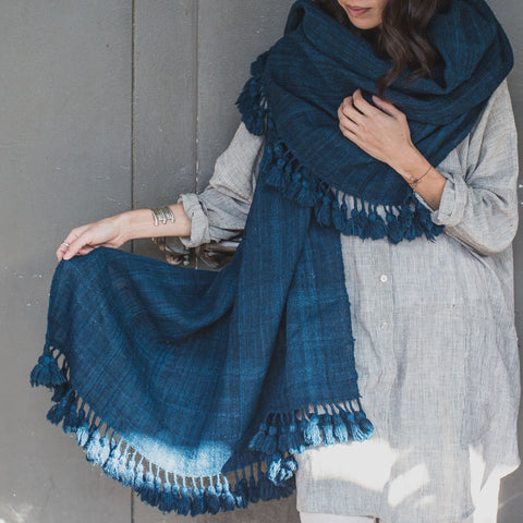 Deshi Wool Shawl with Pom Poms Blue