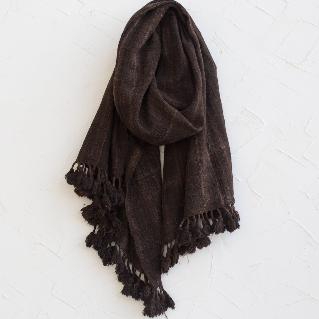 Deshi Wool Shawl with Pom Poms in Natural Brown