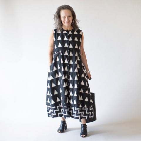 Ikat Bandra Dress - Black with Triangles